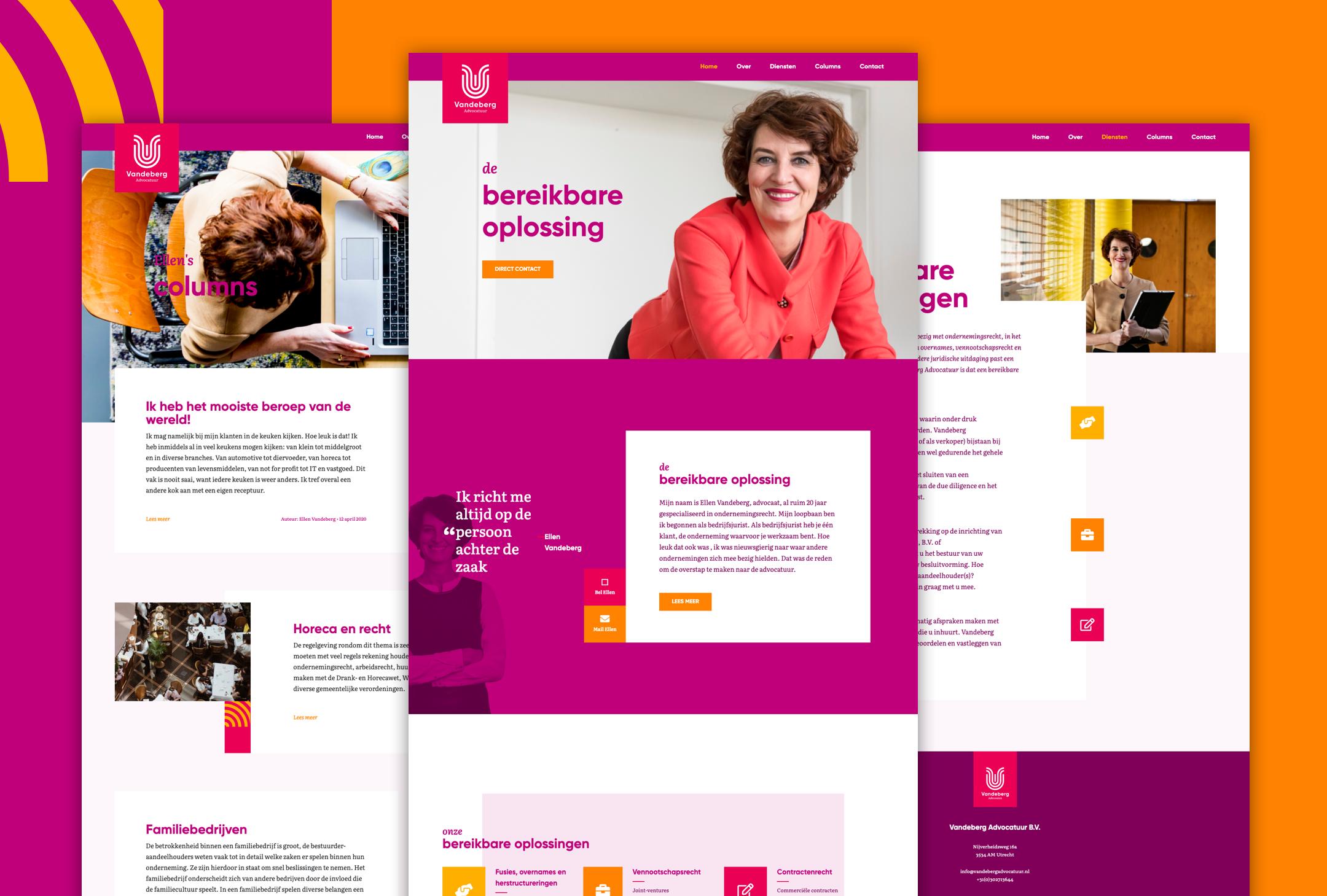 Vandeberg advocatuur websitedesign